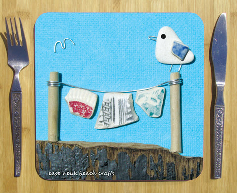 """Seagull & Washing Line"" Square Seaside Placemat"