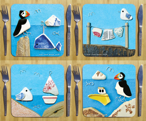 Set of 4 Seaside Placemats - Seagulls, Puffins & Boats