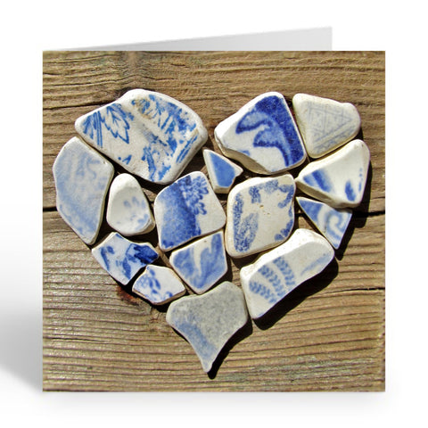 """Blue & White Antique Pottery Heart"" Greetings Card (No.457)"