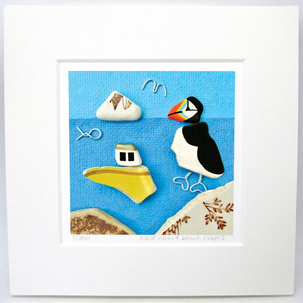 "Limited Edition, Signed Giclée Seaside Print: ""Puffin & Yellow Pottery Fishing Boat"""