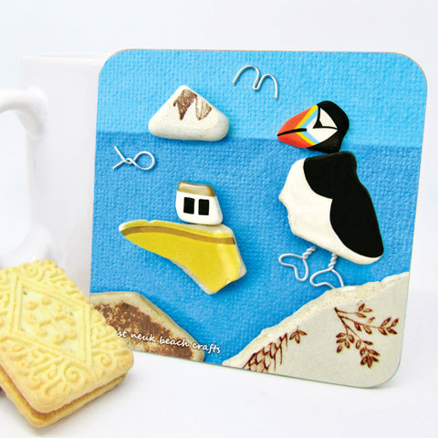 """Puffin & Fishing Boat"" Drinks Coaster"