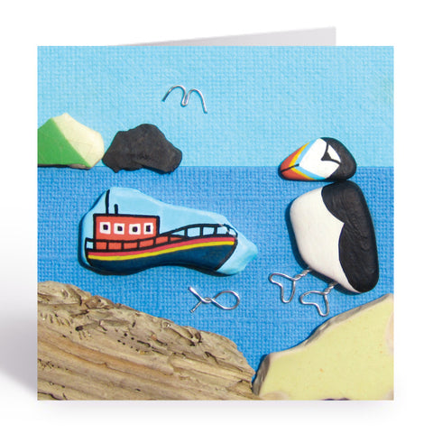 """Puffin & RNLI Lifeboat"" Greetings Card (No. 1042)"