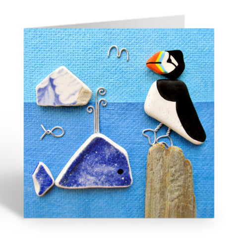 """Puffin, Whale & Bass Rock"" Greetings Card (No.367) - East Neuk Beach Crafts"