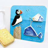 """Puffin & Whale"" Drinks Coaster"
