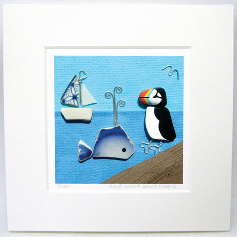 "Limited Edition, Signed Giclée Seaside Print: ""Puffin & Whale with Pottery Sailing Boat"""