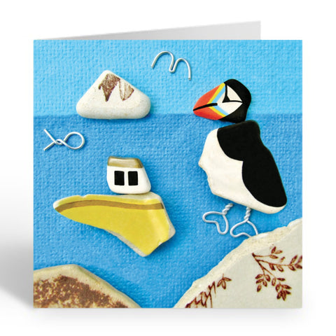 """Puffin, Yellow Fishing Boat & Berwick Law"" Greetings Card (No.363) - East Neuk Beach Crafts"