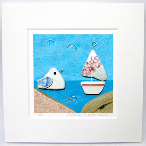 "Limited Edition, Signed Giclée Seaside Print: ""Seagull with Pink Pottery Sailing Boat"""