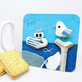 """Seagull & Fishing Boat"" Drinks Coaster"
