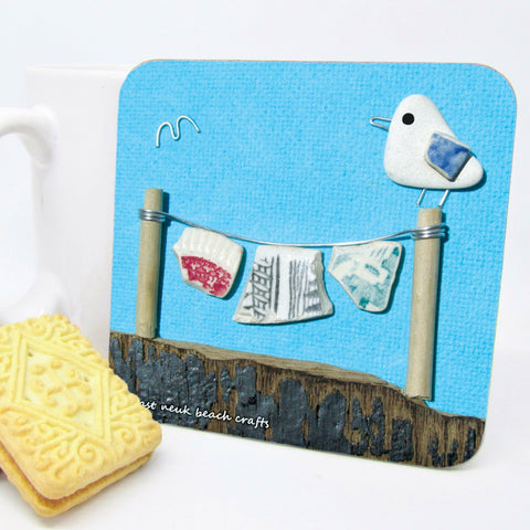"""Seagull & Washing LIne"" Drinks Coaster"
