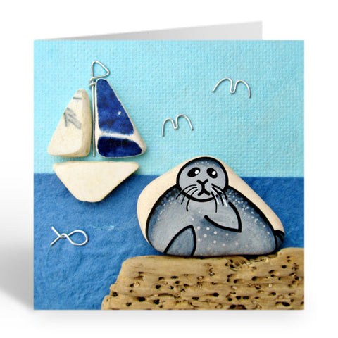 """Seal & Sailing Boat"" Greetings Card (No. 362)"
