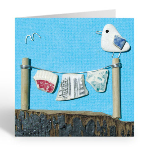 """Seagull & Antique Pottery Washing Line"" Greetings Card (No. 360) - East Neuk Beach Crafts"
