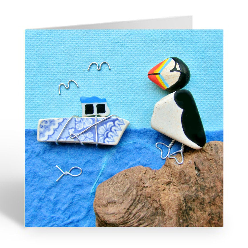 """Puffin & Wire Wrapped Fishing Boat"" Greetings Card (No. 368) - East Neuk Beach Crafts"
