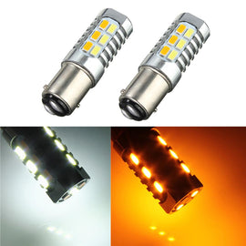 1157 (BAY15D/2037) 22-SMD 5730 LED Switchback Bulbs, White/Yellow - Autolizer