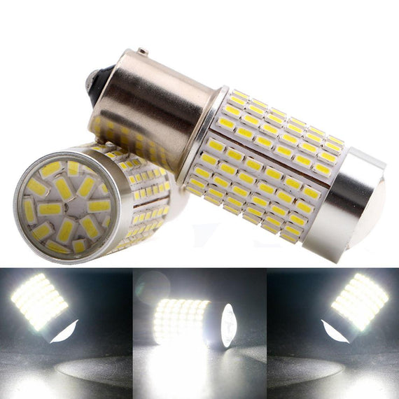 1156 (BA15S/7506/P21W) 144-SMD 3014 LED Bulbs with Projector, Xenon White - Autolizer