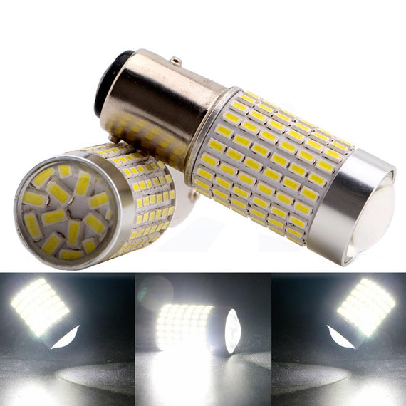 1157 (BAY15D/2037) 144-SMD 3014 LED Bulbs with Projector, Xenon White - Autolizer
