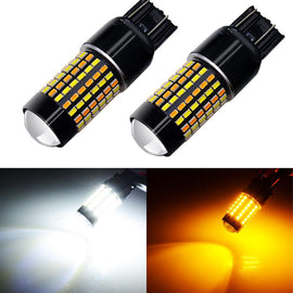 7443 (7440/7441/T20) 120-SMD 3014 LED Switchback Bulbs with Projector, White/Yellow - Autolizer