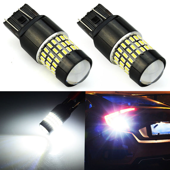 7443 (7440/7441/T20) 78-SMD 3014 LED Bulbs with Projector, Xenon White - Autolizer