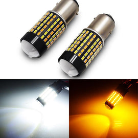 1157 (BAY15D/2037) 120-SMD 3014 LED Switchback Bulbs with Projector, White/Yellow - Autolizer