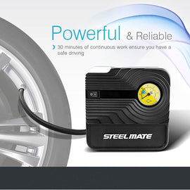 STEEL MATE Tire Inflator Portable Car Air Compressor Pump Digital Auto Emergency Kit - Autolizer