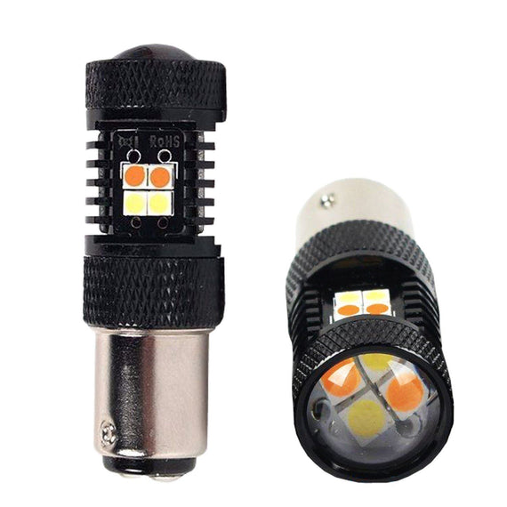 1157 (BAY15D/2037) CanBUS 16-SMD 3030 LED Switchback Bulbs, White/Yellow - Autolizer