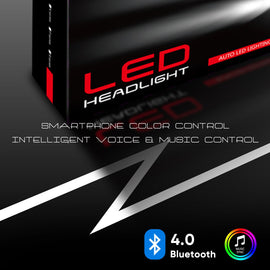 RGB LED Headlight Bulbs Conversion Kit Control by Bluetooth Smartphone App - Autolizer