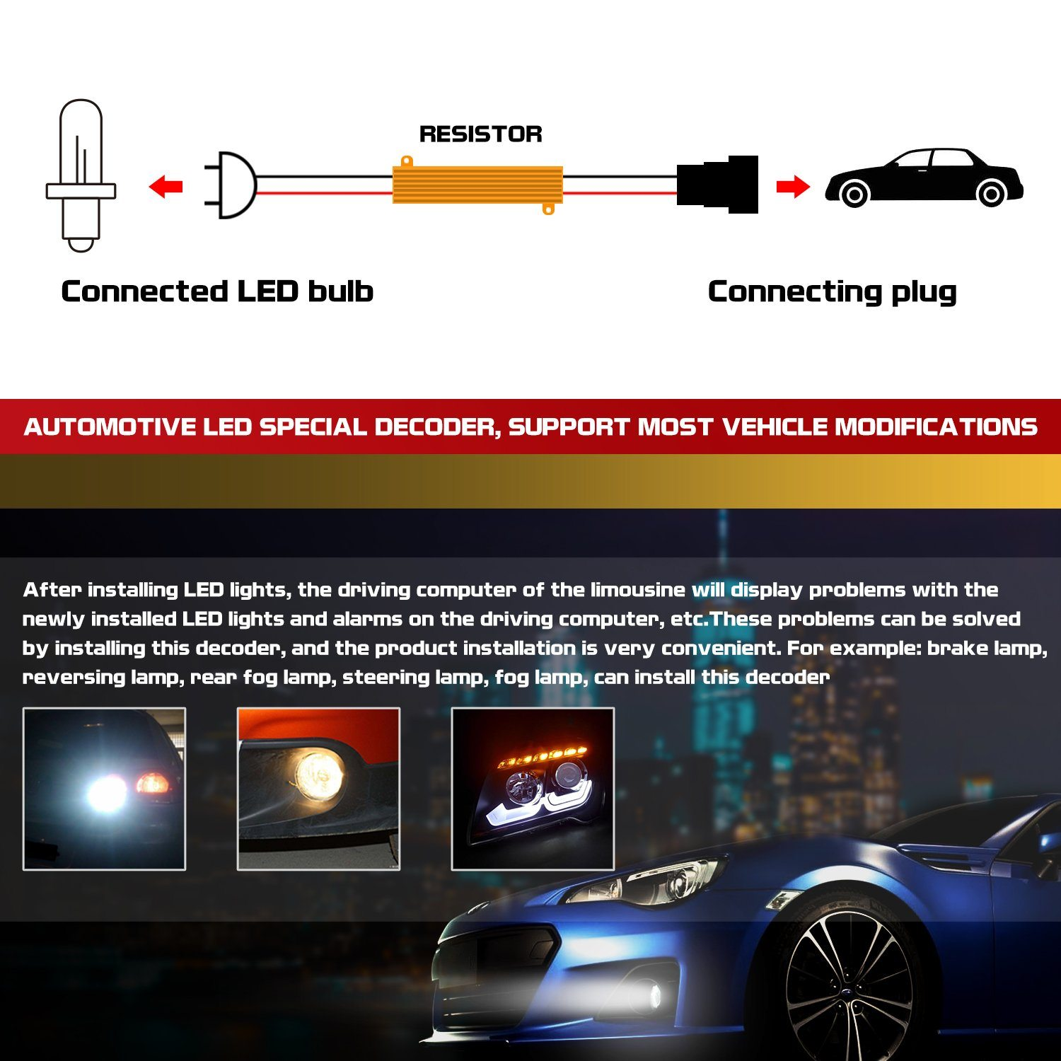 9005 9006 Hid Led 50w 6ohm Resistor Warning Canceler Relay Harness Headlight Wiring Diagram H10 Kit Adapter
