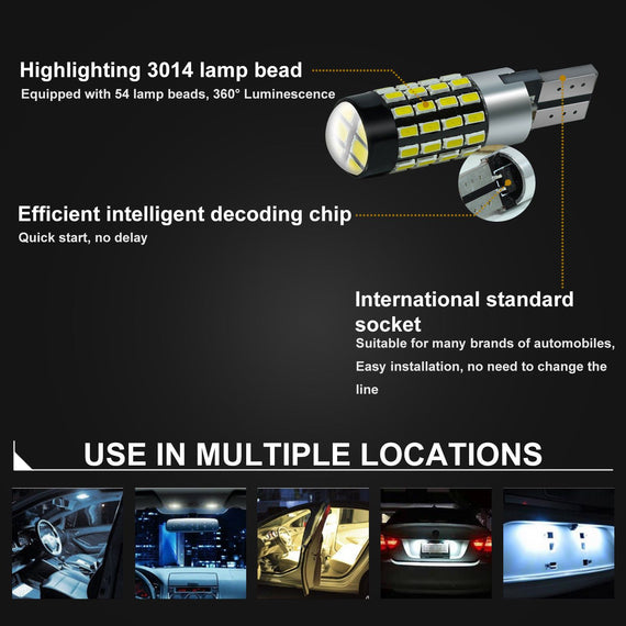 T10/T15 (194/168/158) CanBUS 54-SMD 3014 Xenon White LED Replacement