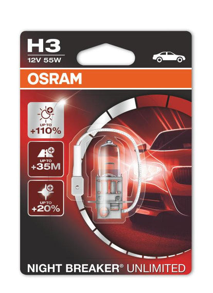 Osram H3 Night Breaker Unlimited Halogen Headlight Replacement Bulbs - 64151NBU - 1 Pair - Autolizer