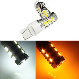 7443 (7440/7441/T20) 22-SMD 5730 LED Switchback Bulbs, White/Yellow - Autolizer