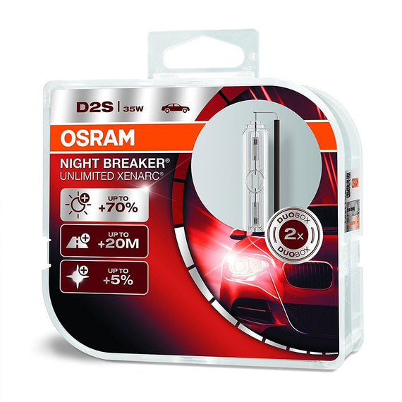 Osram D2S Duo Xenarc Night Breaker Unlimited Xenon Headlight Lamp Replacement Bulbs - 66240XNB-DUO - 1 Pair / 2 PCS - Autolizer