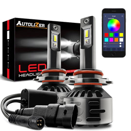 9005 (HB3 9011) LED Headlight RGB Conversion Kit Control by Bluetooth Smartphone App - Autolizer