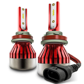 2-Sided LED Headlight Conversion Kit with Fan Base - Red Series - Autolizer
