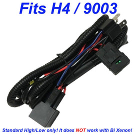 H4 (9003, HB2) Single Hi/Lo Beam Wire Relay Harness 12V 35W/55W H/L Wiring - Autolizer