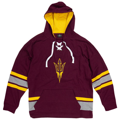 ASU Hockey Men's Maroon Lace-Up Pullover Hoodie