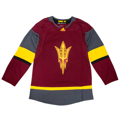 NCAA ASU Hockey Maroon Alternate Logo Jersey