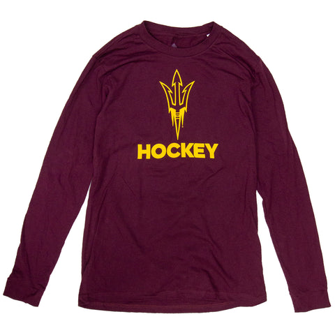 ASU Hockey Men's Maroon Amplifier Long Sleeve T-Shirt