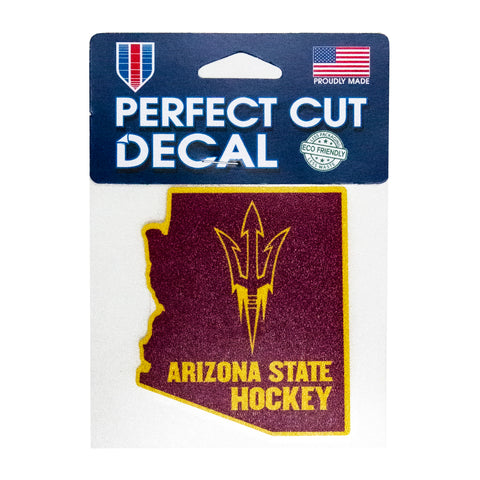 "ASU Hockey 4"" x 4"" State Perfect Cut Decal"