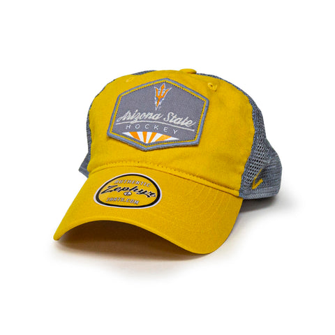 ASU Hockey Gold/Light Gray Sunshine Trucker Hat