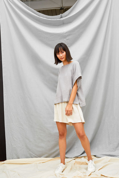 Cropped Split Tee - Fog - DevlynvanLoon