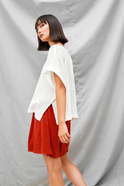 Cropped Split Tee - White - DevlynvanLoon