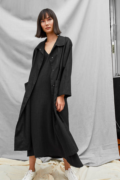 Raglan Overcoat - Black - DevlynvanLoon