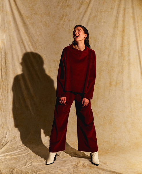 Boatneck Pullover - Berry Corduroy