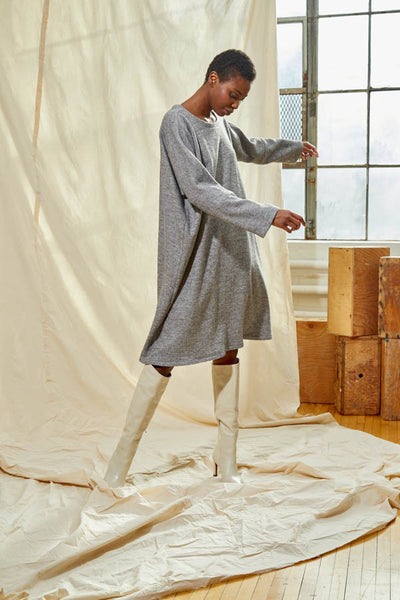 Flared Pullover Dress - Heather Grey