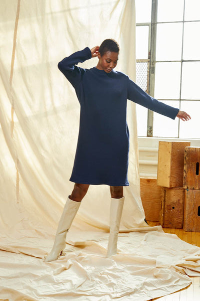 Classic Sweater Dress - Navy dead-stock Wool