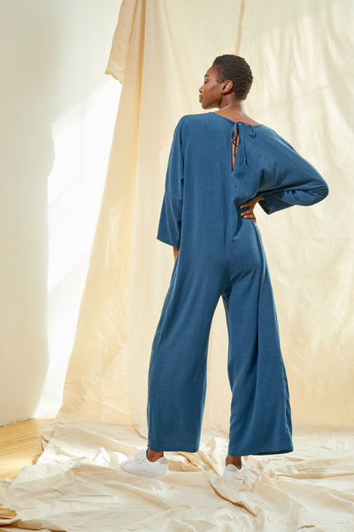 V-Neck Jumpsuit - Aegean Blue