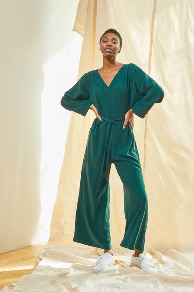 V-Neck Jumpsuit - Pine
