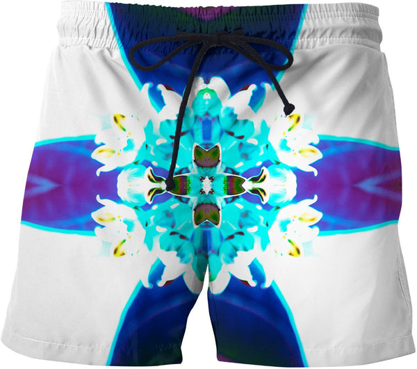 Blue Flower Reflect Swim Shorts