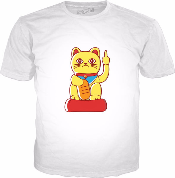 Middle Finger Mis-Fortune Cat T-Shirt - Japanese Fortune Cat