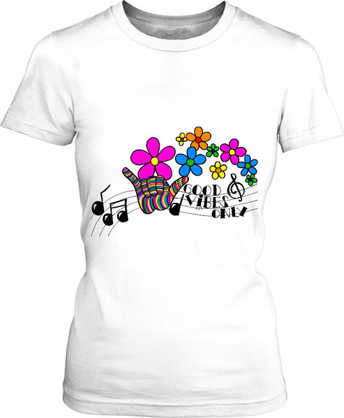 Good Vibes Only Music Notes Womens T-Shirt