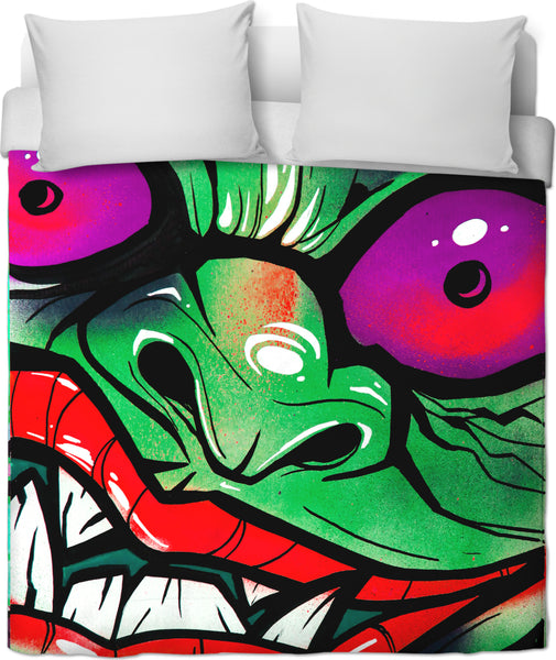 green graffiti gremlin bed cover set